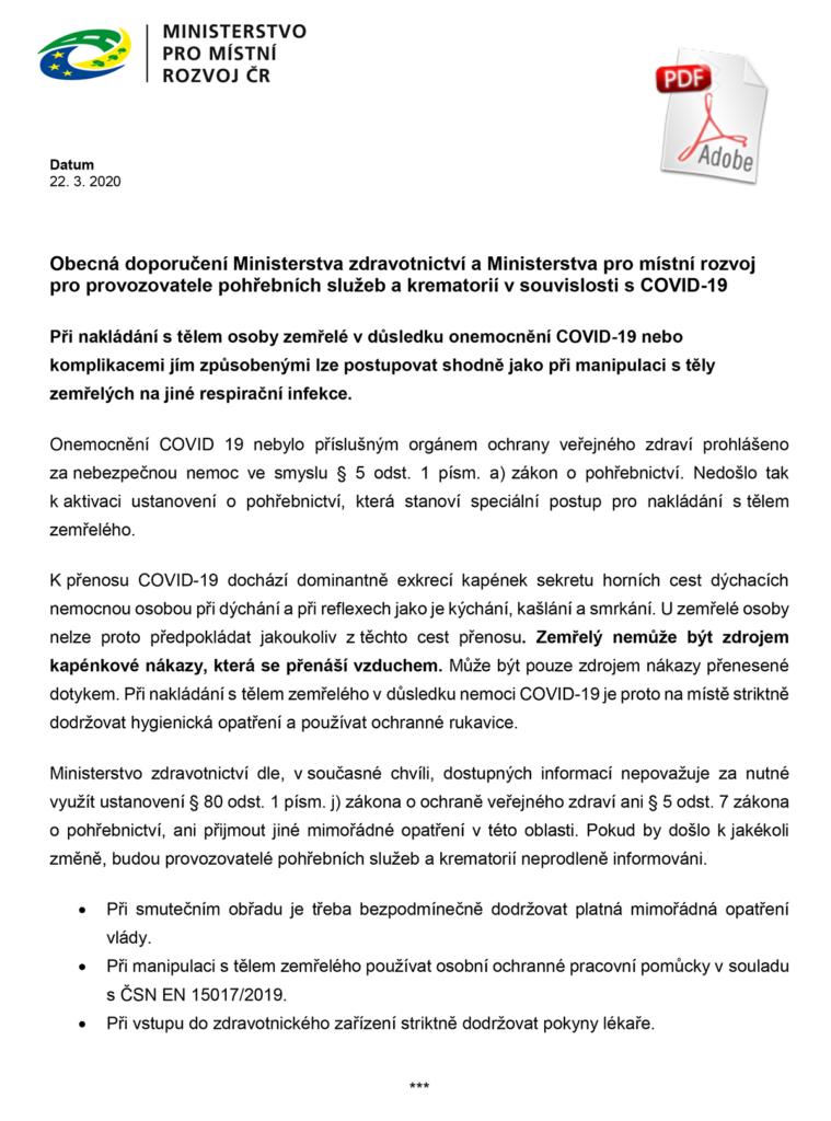 Doporučení Ministerstva zdravotnictví a Ministerstva pro místní rozvoj pro provozovatele pohřebních služeb a krematorií v souvislosti s COVID-19
